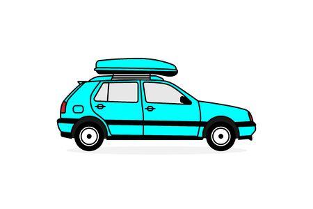 Personenauto met een imperiaal voor reizen met de auto. Platte vectorillustratie Eps10.