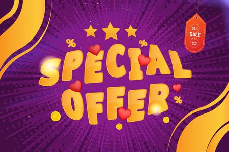 Super sale of 50% percent Special Offer. Horizontal web banner with hot discounts and original font with red hearts on a background with light effects. Flat vector illustration EPS10.