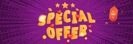 Super sale of 50% percent Special Offer. Long web banner with hot discounts and original font with red hearts on a background with light effects. Flat vector illustration EPS10.