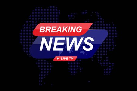 Breaking News template title with world map on dark background with light effects for screen TV channel. Flat vector illustration Ilustrace