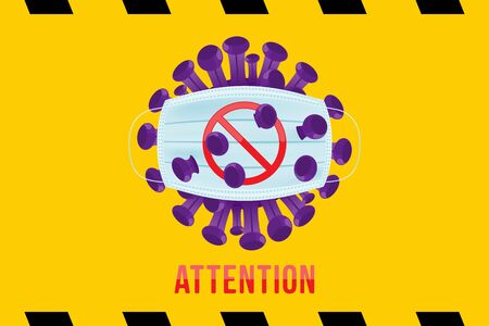 Attention Coronavirus with stop sign and medical surgical mask for the face. Flu spreading of the world. Floating flu virus and cancer cells on yellow background. Flat vector illustration Ilustrace