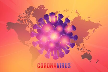 Background Coronavirus with World Map and lights effects. Flu spreading of the world. Floating flu virus and cancer cells. Flat vector illustration