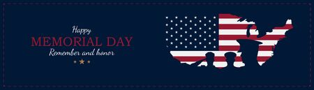 Happy Memorial Day. Greeting card with USA flag and map with silhouette soldiers on the background. National American holiday event. Flat vector illustration Ilustrace