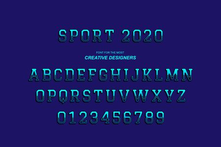 Sport original retro 3D bold font alphabet letters and numbers for creative design template