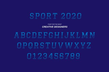 Sport original retro bold font alphabet letters and numbers for creative design template
