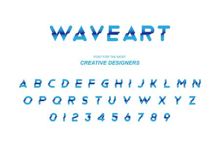 Wave original bold font alphabet letters and numbers for creative design template