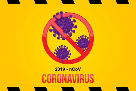 pathogen respiratory coronavirus with stop sign. Flu spreading of the world. Floating flu virus and cancer cells on yellow background. Flat vector  イラスト・ベクター素材