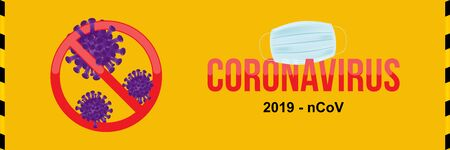Coronavirus with stop sign and medical surgical mask for the face. Flu spreading of the world. Floating flu virus and cancer cells on yellow background. Flat vector illustration