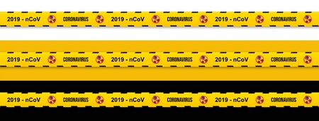 2019 - nCoV Yellow warning stripes coronavirus with stop sign. Flu spreading of the world. Floating flu virus and cancer cells on yellow background.