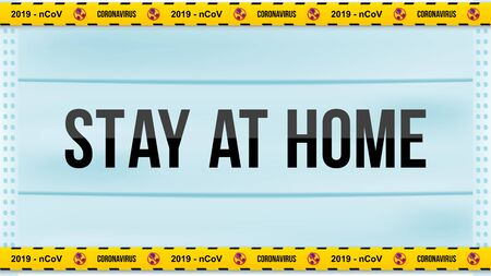 Stay Home 2019 - nCoV Coronavirus. Yellow warning stripes  stop sign. Flu spreading  the . Floating flu virus and cancer cells on background. Flat vector illustration . Ilustrace