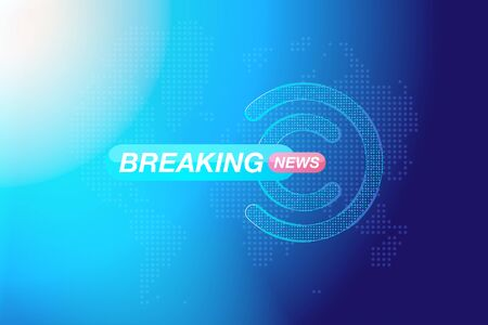 Breaking News template title   map on blue background  light effects for screen TV channel. Flat vector illustration .