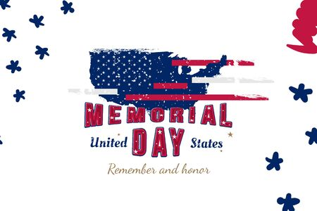 Happy Memorial Day. Greeting card  USA flag and map on the white background. National American holiday event. Flat vector illustration . Ilustrace