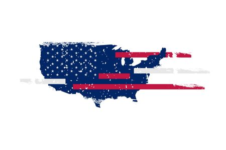 USA Flag and Map with white stars, red and blue stripes. Symbol of the United States of America in retro style with texture. Flat vector illustration EPS10.