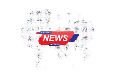 Breaking News template title with Technology World Map on white background. Template for screen TV channel. Flat vector illustration EPS10.