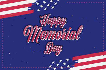 Happy Memorial Day. Vintage greeting card USA flag on background. National American holiday event. Flat vector illustration .