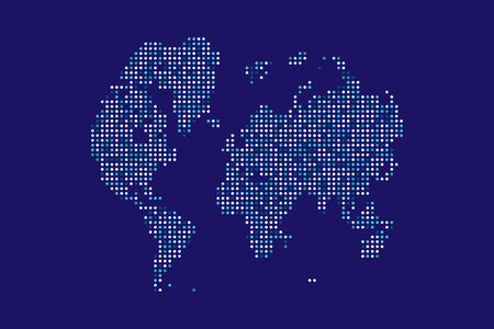 Abstract Technology World Map with round dots. Flat vector illustration EPS 10.