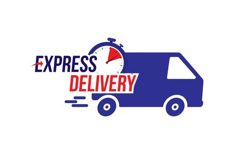 Express delivery icon. Fast shipping with truck timer with inscription on white
