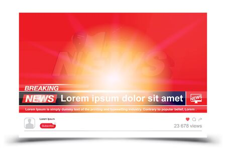Breaking News template title on red background with light effects for screen TV channel. Flat vector illustration EPS10. Ilustrace