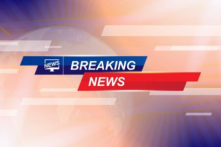 Breaking News template title with globe world map on blue background with light effects for screen TV channel. Flat vector illustration EPS10.