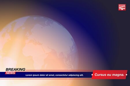 Breaking News template title with globe world map on blue background with light effects for screen TV channel. Flat vector illustration EPS10. Vektoros illusztráció