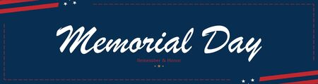 Happy Memorial Day. Long Greeting card with USA flag on blue background with lettering typography. National American holiday event. Flat vector illustration EPS10.