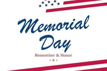 Happy Memorial Day. Greeting card with USA flag on white background with lettering typography. National American holiday event. Flat vector illustration EPS10.
