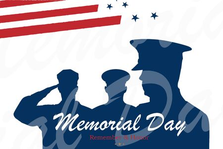 Happy Memorial Day. Greeting card with USA flag and soldiers on white background. National American holiday event. Flat vector illustration EPS10. Ilustrace