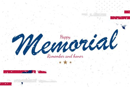 Happy Memorial Day. Long Greeting card with USA flag on white background with lettering typography. National American holiday event. Flat vector illustration EPS10. Ilustrace