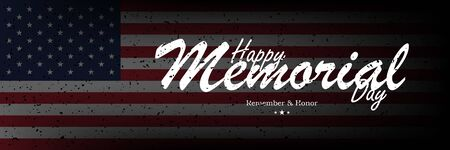 Happy Memorial Day. Long Greeting card with USA flag on background with lettering typography. National American holiday event. Flat vector illustration EPS10. Ilustrace