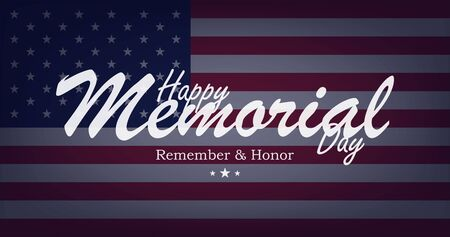 Happy Memorial Day. Greeting card on background with USA flag and lettering typography. National American holiday event. Flat vector illustration EPS10.