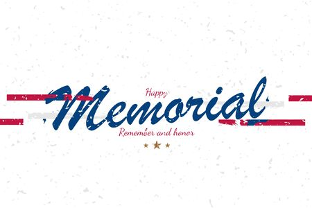 Banner Memorial Day. Vector illustration with lettering