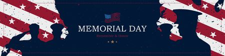 Happy Memorial Day. Greeting card with USA flag and silhouette soldiers on blue background. National American holiday event. Flat vector illustration EPS10.