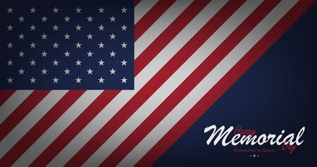 Happy Memorial Day. Banner with USA flag and lettering typography on background. National American holiday event. Flat vector illustration EPS10.