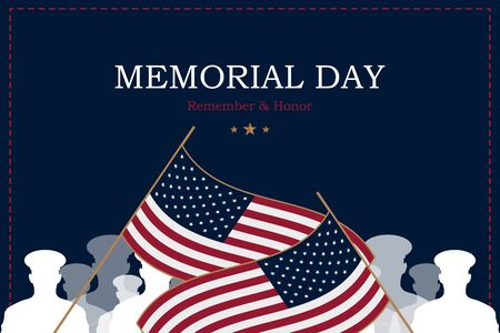 Happy Memorial Day. Greeting card with USA flag and silhouette soldiers on background. National American holiday event. Flat vector illustration EPS10.
