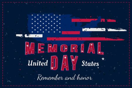 Happy Memorial Day. Greeting card with USA flag and map on the blue background. National American holiday event. Flat vector illustration EPS10.