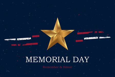Banner Memorial Day. Vector illustration with lettering Remember and Honor and USA flag on blue background