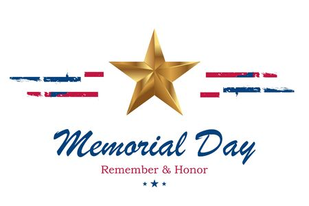 Banner Memorial Day. Vector illustration with lettering Remember and Honor and USA flag on white background