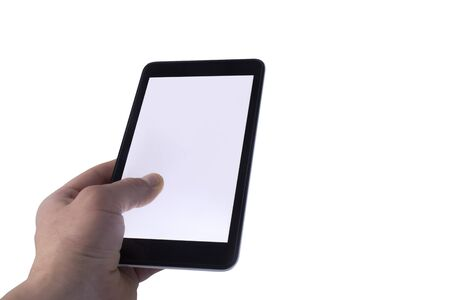 Man hand on white background holds Tablet with isolated screen. Mockup Technology