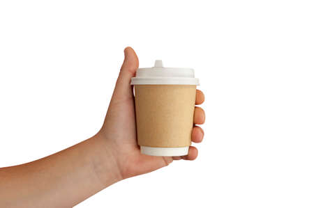 Mock up of a plastic cup with coffee close-up in the hand of a man isolated on a white background