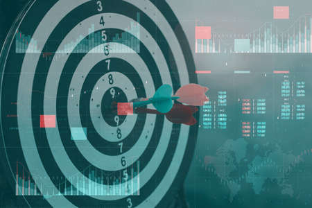 Business analytics with key performance indicators dashboard concept. Financial success concept with a holographic control panel against a background of statistics