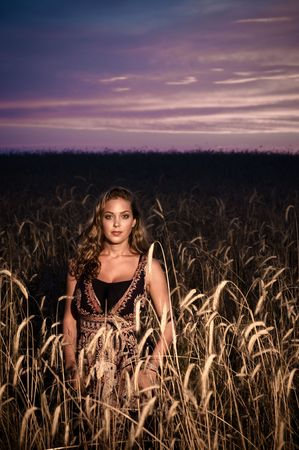 loveable: A lovely voluptuous young lady in a dress standing in a field of wheat at sunset Stock Photo