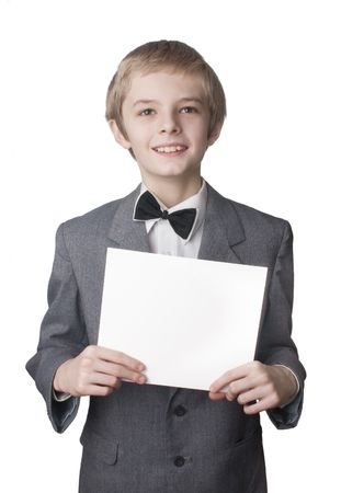 notification: boy with the blank notification card Stock Photo