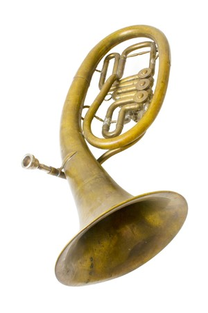 Alto saxhorn close up  isolated on white Stock Photo - 4253010