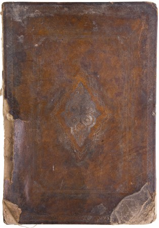 an ancient closed talmud on white background photo