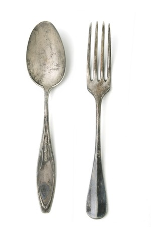 Antique silver fork and spoon