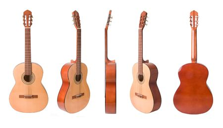 Classical acoustic guitars set  isolated on white Stock Photo - 6036628