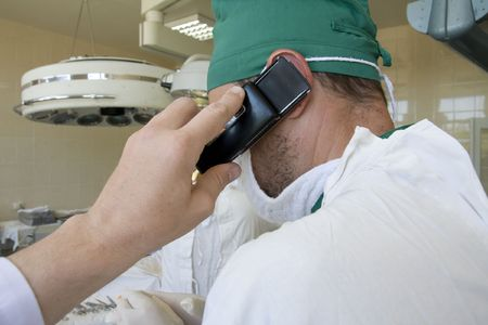 surgeon is talking before the operation photo