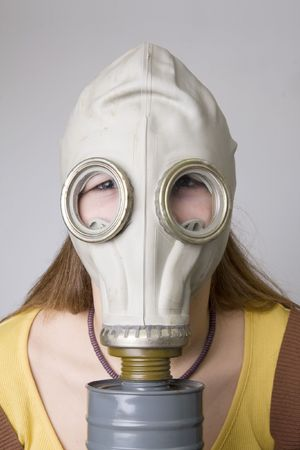 Young model with the Gas Mask  photo