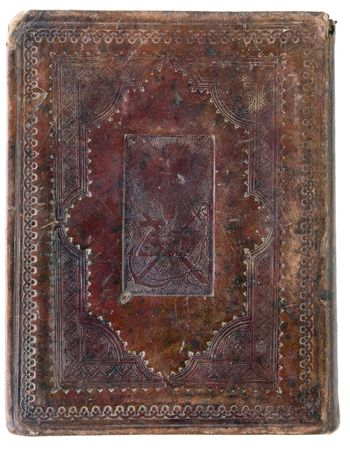 closed XIX century  vintage bible on white background photo