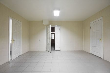 Empty hospital hall with the doors